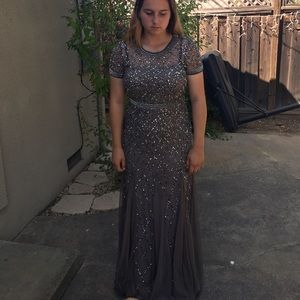 Grey sequined prom dress