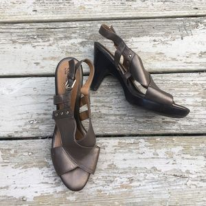 Sofft Shoes - { Sofft } leather metallic brown heeled sandal