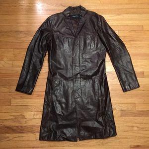 J. Lindeberg Other - J Lindeberg mens brown long leather jacket - Med