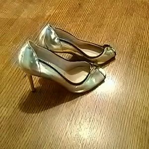 Rare Christian Louboutin Gold Peep Toe High Heels