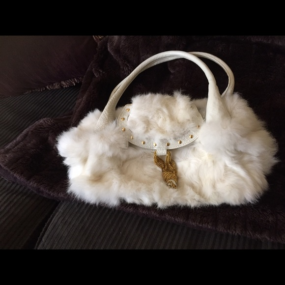 39f5f776b78 Guess by Marciano Bags   Marciano White Rabbit Fur Purse   Poshmark