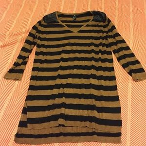 H&M Sweaters - Tunic-Length Striped Sweater with PU Shoulders