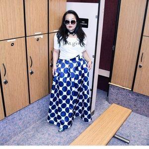 Navy & White Polka Dot Maxi Skirt