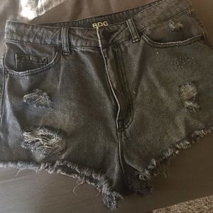 High waisted gray denim shorts