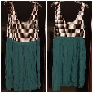Teal, black and white stripe sundress, size 3