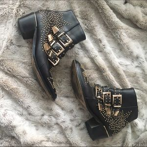 Shoes - Black pleather gold studded boots