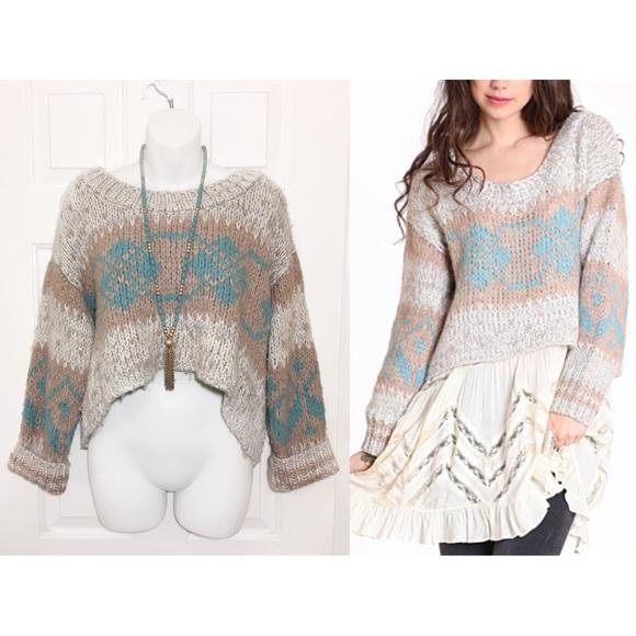 Free People - fяєє ρєσρℓє - Cropped Fair Isle Knit Sweater from ...
