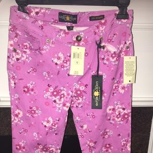 Lucky Brand Girls Pink Flower Jeans Size 12