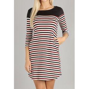Dresses & Skirts - Burgundy Striped A-Line Dress