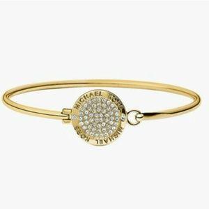 MK Rhinestones gold tone coin bangle
