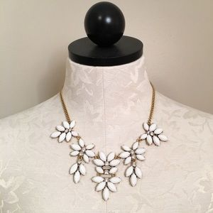 NWT J. Crew White & Crystal Statement Necklace!