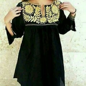 Mexican Hand Embroidered Top Blouse Medium Black