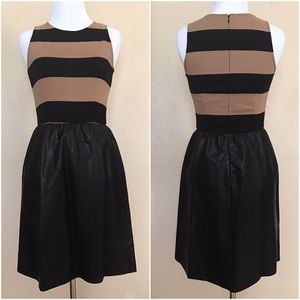 Tinley Road Dresses & Skirts - Tinley Road Black Brown Stripe Faux Leather Dress