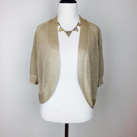 54% off Calvin Klein Sweaters - CALVIN KLEIN gold shimmer cardigan ...