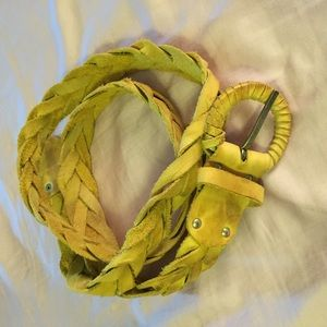 Accessories - Mustard Yellow Braided Leather Belt. Size M