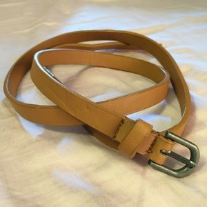 Accessories - Light brown leather skinny belt. Size S/M