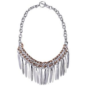 Silver and brown leather bin fringe necklace