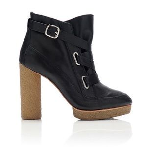 Loeffler Randall Shoes - Loeffler Randall Black Leather Chunky Heel Booties