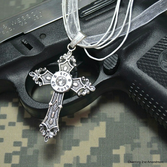 charming 2nd Amendment Jewelry - 45 caliber Silver Bullet cross necklace