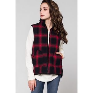 Hannah Beury Jackets & Blazers - Red Plaid Vest With Pockets