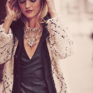 Free People high collar boucle coat
