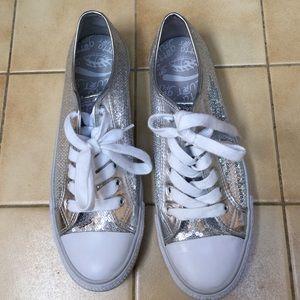 Gotta Flurt Shoes - Gotta Flurt silver sequined sneakers. Like new
