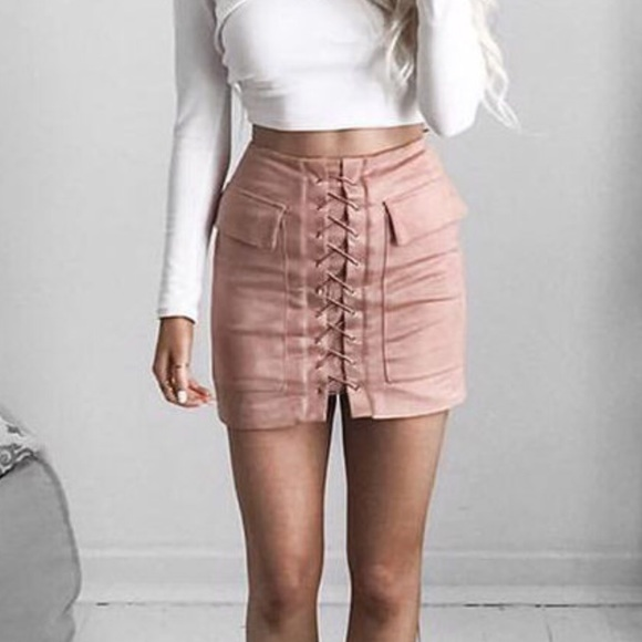 Vegan Suede Lush Lace Up Cargo Pink Mini Skirt Boutique