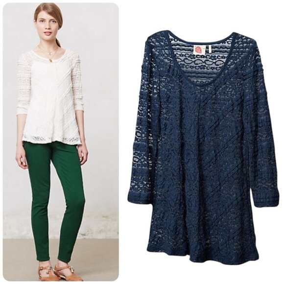 0c917ca7bde969 Anthropologie Tops | Anthro Lilka Colette Pullover Sz M Blue Lace ...