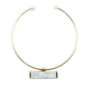 T&J Designs Jewelry - White Marbled Stone Choker