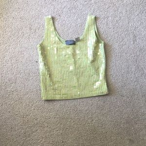 Urban Outfitters Tops - Lime green sequin vintage crop top