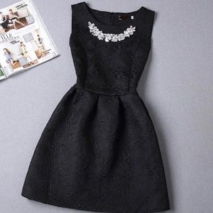 GlamVault Dresses & Skirts - Black Fit & Flair Dress with Rhinestone Necklace