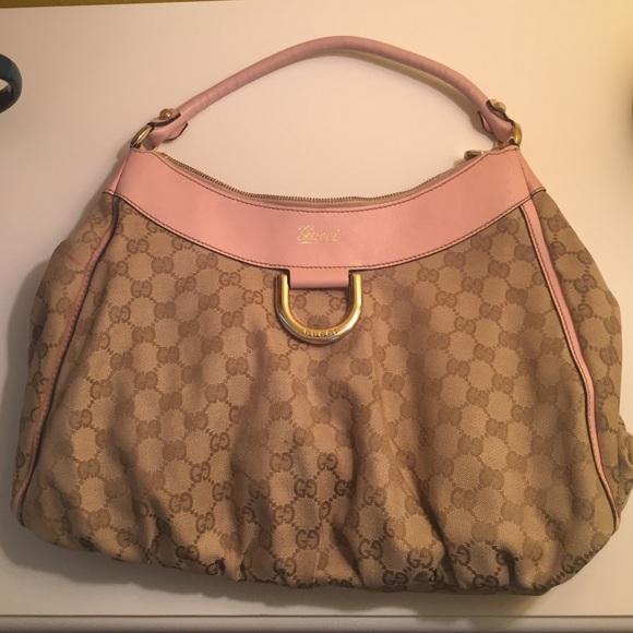 6d5a467bc62 Gucci Handbags - Gucci Monogram Large D Shoulder bag Pink