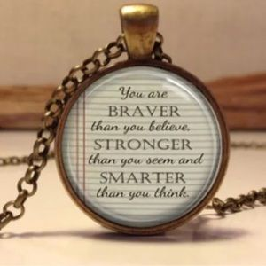 Winnie The Pooh Quote Glass And Brass Necklace