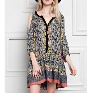 3/4 cold shoulder floral printed tunic/mini dress