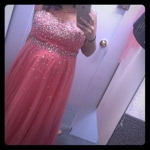Pink Rhinestone Prom Wedding Dress