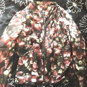 Leather floral jacket blazer