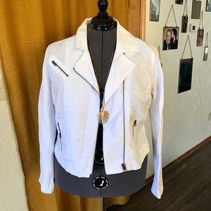 Lane Bryant White Cropped Linen Blend Moto Jacket