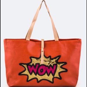 Wow  orange comic sequin patch tote bag handbag
