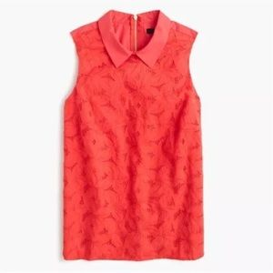 NWT J. Crew eyelet top with collar in coral size 2