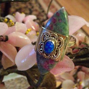 One of a kind925 ruby kyanite fir opal ring