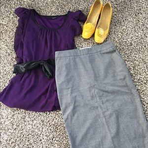 Old Navy Dresses & Skirts - Old Navy grey stretch pencil skirt