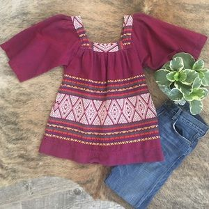 Vintage Tops - Guatemalan Embroidered Blouse