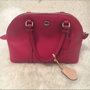 Red Coach Peyton Leather Cora Domed Satchel