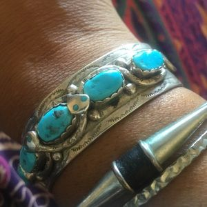 Large Zuni turquoise and sterling silver bracelet