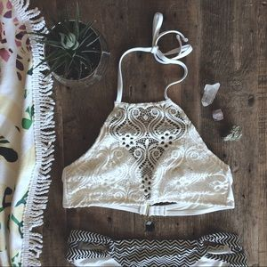 Other - White Lace Halter Swim Top