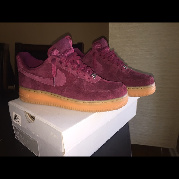 Nike Maroon Suede Air Force 1s