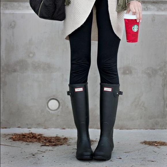 Black Gloss Hunter Rain Boots | Poshmark