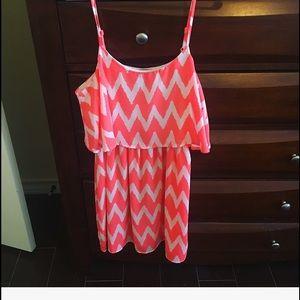 Neon coral and white chevron dress!