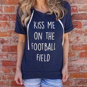 • s & m & l • kiss me on the football field hoodie
