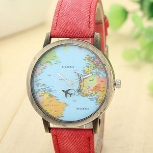 Cute Red World Map Watch